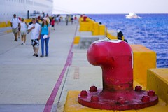 Disembarkation (jacreative) Tags: cruise blue red people yellow mexico yucatan caribbean cozumel royalcaribbean enchantmentoftheseas jacreative