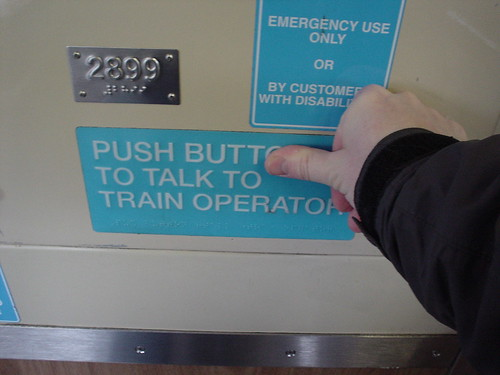 Push Butt to Talk to Train Operator