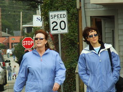 2 Women (Curtis Gregory Perry) Tags: pacificnorthwest northwest 2006 sign signs signage people stranger strangers manzanita 20 speed stop or woman women blue jacket sunglasses shades eyewear glasses sun cool hip fun sunglass teashades human beings humans peopleidontknow oregon random preson humanity pacific united states usa us america 招牌 サイン 看板 kyltti liikennemerkki wegweiser schild enseigne écriteau знак вывеска 간판 letrero indicación bord teken uithangbord