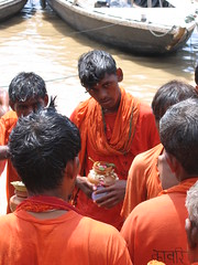 Ganges Devotees (Kate and Neil) Tags: 2005 orange india worship devotees ganges varnasi
