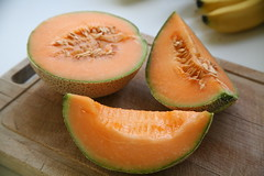 Sliced Open (Bruno Girin) Tags: fruit fresh melon bananas board cantaloupe