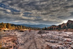 Dryed up riverbed (ojaipatrick) Tags: trees sunset color nature landscape ilovenature photography rocks riverbed topphotoblog