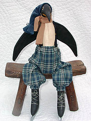 Freeze The Penguin (uptheatticsteps) Tags: art vintage penguin doll dolls handmade folk cloth primitive uptheatticsteps