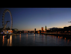 The Thames at Christmas (forlornturtle) Tags: panorama london westminster thames londoneye bigben hungerfordbridge christmasday2005
