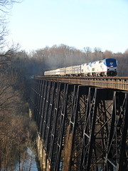 James River Trestle (Luke Sharrett) Tags: amtrak railroad trestle bridge span track train locomotive engine passenger crescent truss river sky blue railway northbound transportation lynchburg va virginia exhaust water jamesriver ravine tracks trains top20rrpix
