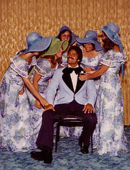 Bridemaids And Groom (Stephanie Andrews) Tags: dad 1970s wedding bridesmaids groom hats tuxedo 1974