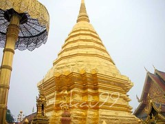 Gold Stupa at Wat Phra That Doi Suthep Temple in Chiang Mai, Thailand