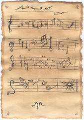 Cacophonia (Small the Beetle) Tags: drawings ink teastains art music manuscript jazz clef fugue note