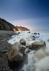 Earth, Air, Fire, Water (Toby Keller / Burnblue) Tags: ocean california longexposure toby moon beach santabarbara night landscape keller waves d70 been1of100 top20night hendrys tobykeller 1118mm burnblue