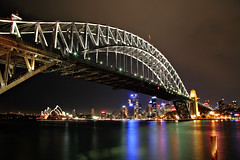 Sydney Harbour Bridge by Night (Xenedis) Tags: bridge sydney sydneyharbourbridge night water sydneyharbour evening newsouthwales nsw australia architecture