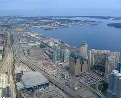 CN Tower Trip (Qba from Poland / qmphotostudio) Tags: city toronto ontario canada cityscape cntower skyscrapers gardiner lakeontario aircanadacentre qbafrompoland