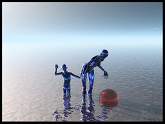 Looking out the Bus Window At The Edge of Infinity (Mr Bultitude) Tags: sea sky water photoshop poser 3d infinity mother son sphere bryce mrbultitude neilcarey