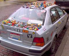 An Athens Art Car - Rear View (psko) Tags: cameraphone auto ohio car athens snoopy artcar happymeal unionstreet plastictoys w600i