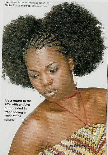 Afro puffs with cornrows