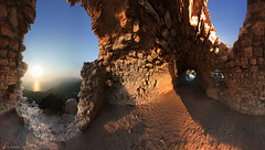 Rhodes, Castle Ruin and Sunset (panoround hutter) Tags: 360degree panorama greece rodos rhodes sunset sunsea dodecaneseislands southaegean sevenwonders ancientworld greek hutterdesign hutter history tradition hiistoric place historic monument historical liquid mirror momuments morning