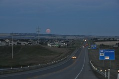 Awesome huge moon as we drove into Okotoks