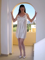All white (Paula Satijn) Tags: white holiday sexy stockings girl smile happy shiny legs silk tgirl crete satin gurl silky chemise nightie