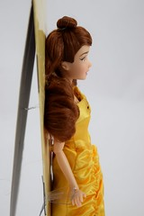 2015 Belle Classic Doll - 12'' - US Disney Store Purchase - Deboxing - Attached to Backing - Midrange Left Side View (drj1828) Tags: yellow us doll princess belle purchase beautyandthebeast disneystore 12inch posable 2015 ballgown deboxing productinformation disneyprincessclassicdollcollection