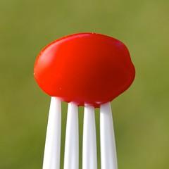 IMG_4902 - Version 2 (j.towbin ) Tags: red food macro green tomato bokeh vibrant fork minimalsim allrightsreserved