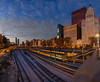 Overlooking the Tracks on E. Jackson Drive (MightyBoyBrian) Tags: windycity dawnskyline traintracks chicago staffordhousechicago lookingwest metropolitantower rooseveltuniversity millenniumpark illinoiscity jacksondrive gabby panorama metropolitanproperties dawn autopanogiga cnachicagobranch chasebank tracks skyline