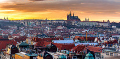 Prague under fire (DaLiu_) Tags: market sunset european street roofs view prague red horizontal central urban holiday bright light evening christmas dusk union czech unesco roof architecture city winter colorful from above buildings tourists dawn europe republic
