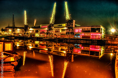 Mshed in the glow (MattSnapsPhotography) Tags: night lift smoke old water port buildings windows barge orange sea rays still blue ship lights loading river crane bristol docks reflection boat mshed quay dark red