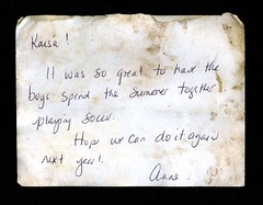 Found: The Boys of Summer (haunted snowfort) Tags: foundnote found find discovery discarded anne karisa note moms boysofsummer beamsville ontario niagara canada playingsoccer saintmarkcatholicelementaryschool