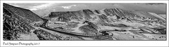 Edale Valley Winter Panoramic (Paul Simpson Photography) Tags: snow winter derbyshire peakdistrict snowy england photosof photoof imagesof imageof paulsimpsonphotography nature panoramic sonya77 sonyphotography blackandwhite bw mamtor highpeak january2017 hills mountains wintersecens scenicviews edalevalley edale