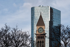 'Twenty to Three' (Canadapt) Tags: buildings old new clocktower trees cityhall clouds contrast juxtapose toronto canadapt