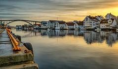 Haugesund, Norway (Vest der ute) Tags: xt2 norway rogaland haugesund seascape sky sea quay houses bridge boats reflections fav25 fav200