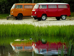 Spieglung (fotonory) Tags: heidepark auto see duck van vw camp sleepover cozy