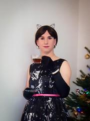 A cup of tea (blackietv) Tags: black white dress gown gloves formal party christmas tree tgirl transvestite crossdresser crossdressing transgender