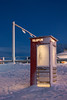 Telefon (BasLoo) Tags: telefon telephone phone telefoon booth phonebooth tromsø norway norge scandinavia arctic cathedral footsteps road traffic light blue hour pole night circle red canon eos 450d tamron 18270mm f3563 di ii vc pzd photography