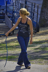 Leading Her Cow (swong95765) Tags: female lady blonde woman walking rope pulling caretaker