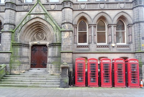 Five Red Phone Boxes