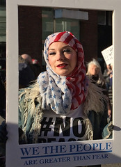 we the people are greater than fear (JudyGr) Tags: protest demonstration march womensmarchonlondon london 2017 living portrait hijab american flag londonist