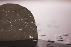 Pulp and Ice: Into the Hinterlands (explored 16/1/17) (lacygentlywaftingcurtains) Tags: macromondays justwhitepaper macro closeup paper igloo backlight backlit artsandcrafts popup pinholes cute homemade