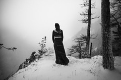 * (Ⓜⓡ. Ⓔⓓ) Tags: snowstorm girl dress wood trees mountains clouds mystic mood cold styria