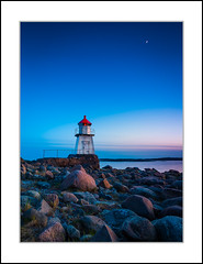 Light house (andreassofus) Tags: landscape nature night nightphotography lighthouse moon moonlight ocean sea seaside seascape water sky bluesky norway hvaler hvalerislands rocks light outdoor travel travelphotography beach