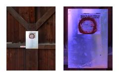 "Wooden Post, runes, death of an Old Nazi - Minuteninstallation: Holz Steher Runen alte Nazi und Neonazi, Spiegel, Caput Mortuum, Sommeranfang Annenheim Steinhof - ""an apple a day keeps the doctor away - An ENSO (Japanese: circle) a Day ..."" 1. Juni 2015"
