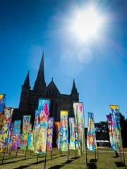 Flags at the Cathedral. (The Image Den) Tags: art silk flags installation salisbury publicart chiaroscuro salisburycathedral breezy contrejour batik