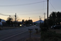Grove Street and Mount Pilchuck before dawn (SounderBruce) Tags: road street mountain silhouette mailbox dawn shoulder marysville mountpilchuck