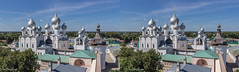 Kremlin view from the Water tower, Rostov, Russia (urix5) Tags: roof sky white tower church wall stereoscopic 3d crosseyed russia horizon churches roofs stereo stereopair ru fortress kremlin rostov crossview bloe yaroslavskayaoblast