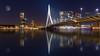 Looking at the Moon in Rotterdam. (Wim Boon (wimzilver)) Tags: rotterdam pscc holland canon reflectie moon maan erasmusbridge erasmus bluehour wimboon wimzilver canoneos5dmarkiii ef1635mmf4lisusm le