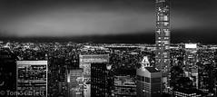 "High rise (cptscarlett78) Tags: ""tom scarlett"" ""nikon"" ""d7100"" ""nikon d7100"" usa newyork newyorkcity nyc manhattan rockefeller rockefellercentre topoftherock skyline blackandwhite night"