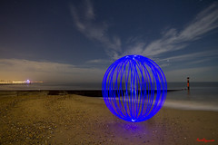 Blue Orb at Alum Chine (mpelleymounter) Tags: light lightorb lightpainting lighttrails longexposure beach bournemouth bournemouthbeach dorsetlandscape dorsetnightsky dorsetseascape markpelleymounter alumchine groyne