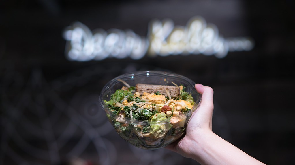 Kale, Caesar! shredded kale, chopped romaine, chicken, avocado, bacon, bean sprouts, cabbage, kimchi, crispy chickpeas, parmesan, creamy caesar dressing