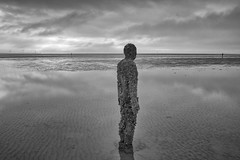 Another Place, Crosby. (miketonge) Tags: anotherplace anthonygormley gormley crosby marine sea beach mono blackandwhite statue sculpture barnacles sefton mersey