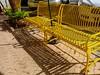 Cocoa Village, Cocoa FL (Rusty Clark) Tags: yellow bench shadow