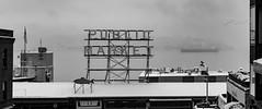 Pike Place Market (Dennis Valente) Tags: 5dsr ferry washington winter ferryship pnw seattle snow bw ship pikeplacemarket blackandwhite farmersmarket 2017 pugetsound sign usa elliotbay ferryboat